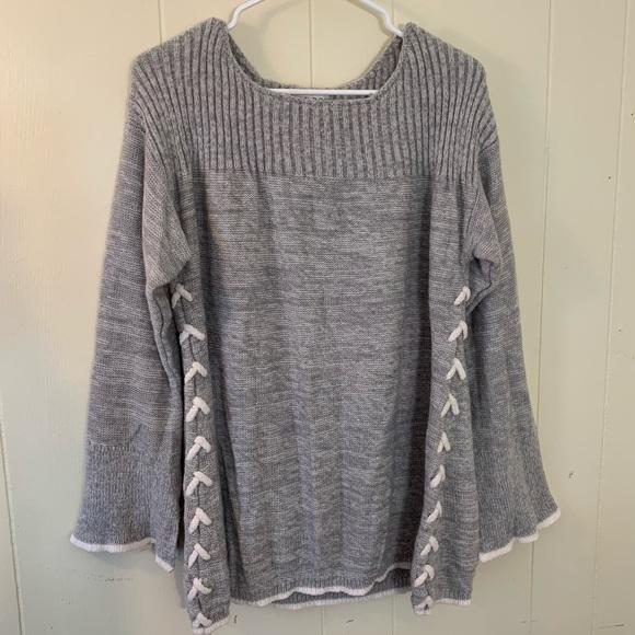 KNOX ROSE Gray Boho Baggy Knit Sweater XXL NWOT LN